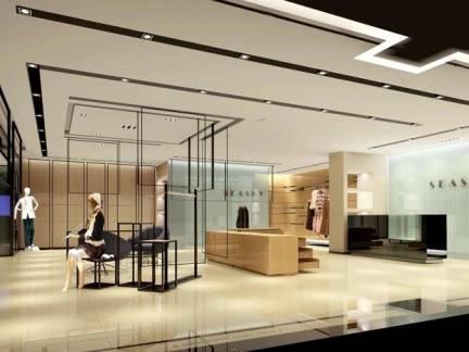 米色现代风格服装店吊顶装修图片