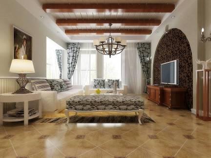 棕色地中海风格客厅吊顶装修设计图