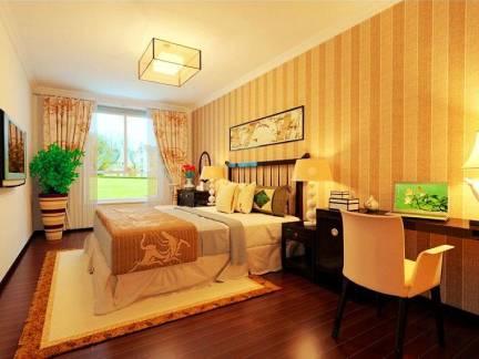 时尚米色中式风格卧室窗帘装修设计图