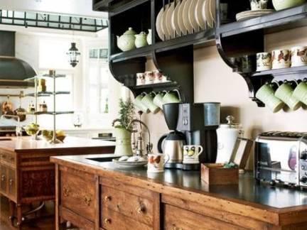 棕色东南亚风格厨房橱柜装修美图