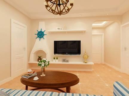 小清新地中海风格客厅白色创意电视背景墙图
