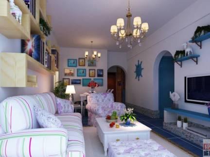 彩色地中海风格文艺客厅沙发装修效果图