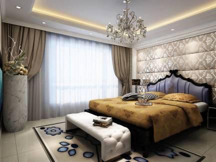 灰色时尚欧式风格卧室窗帘装修设计图