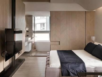 现代简约风格卧室米色电视机背景墙设计