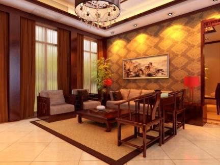 中式风格客厅棕色吊顶装修图片