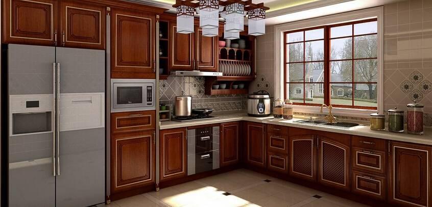 棕色美式风格厨房木质橱柜装修效果图