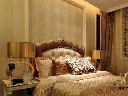 棕色欧式风格唯美卧室窗帘装修设计图