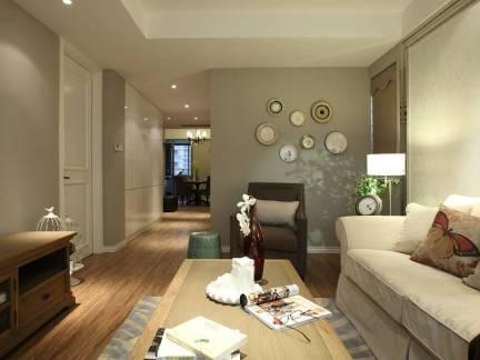 地中海风格客厅米色背景墙装修图
