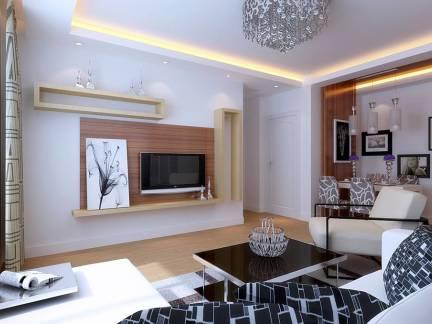 白色现代风格客厅书房装修设计图