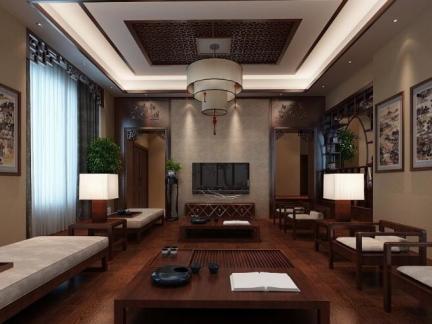 中式风格-246.19平米四居室整装装修样板间