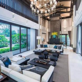 现代简约六居室以上客厅装修效果图