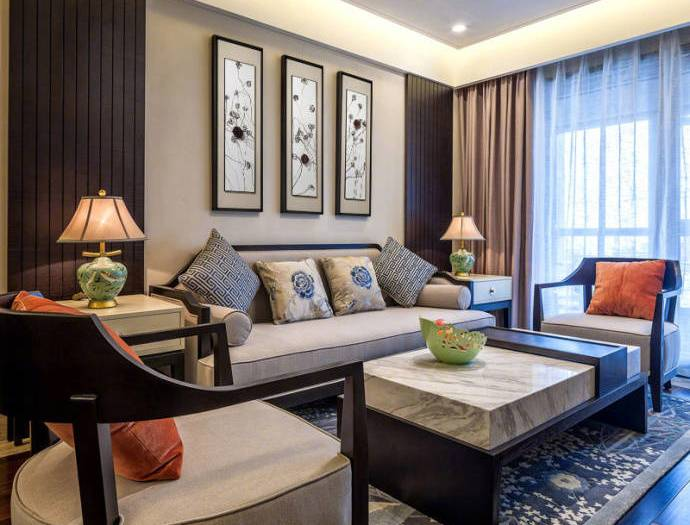 中式古典-90平米二居室整装-装修样板间
