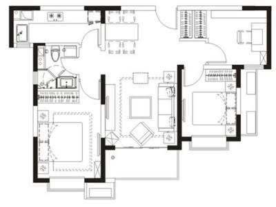 简欧风格-90平米三居室整装装修样板间