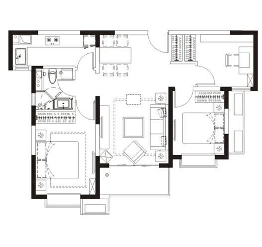 简欧风格-90平米三居室整装-装修样板间