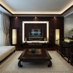 现在中式风格三居室客厅装修效果图