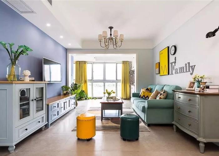 现代美式风-66平米二居室-装修样板间
