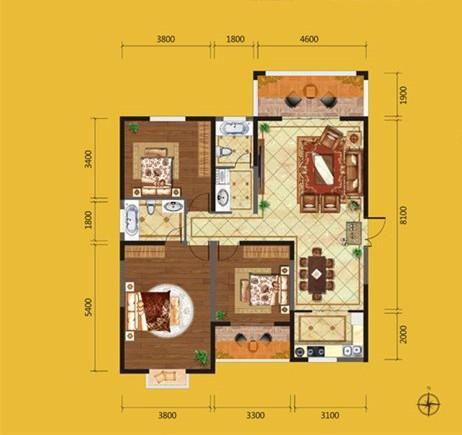 欧美风情-134平米三居室整装-装修样板间
