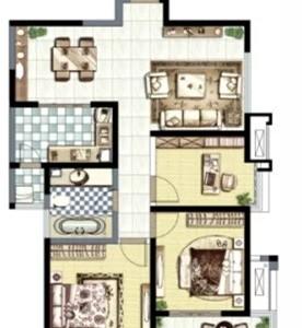 现代简约-109平米三居室装修样板间