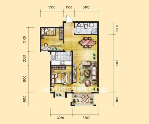 日韩风格-90平米二居室整装-装修样板间