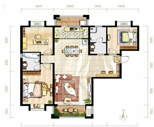 欧美风情-140平米三居室整装-装修样板间