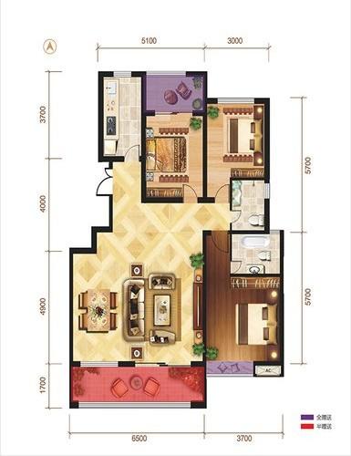 现代简约-125.6平米三居室整装-装修样板间