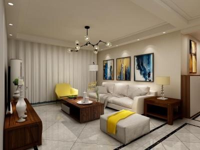 北欧风格-105平米三居室装修设计