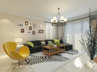现代简约-91平米二居室装修样板间