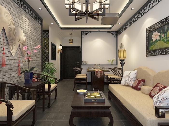 中式风格-71平米二居室-装修样板间