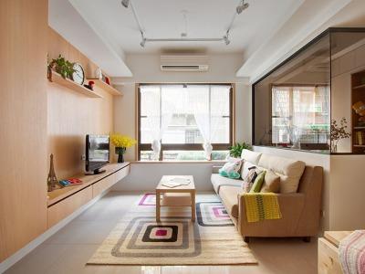 日韩风格-78平米二居室装修样板间
