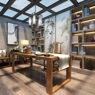 中式风格六居室以上书房装修效果图