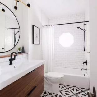 现代中式风格三居室卫生间装修效果图