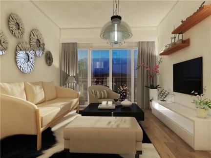 现代简约四居室客厅背景墙pinnacle平博效果图大全