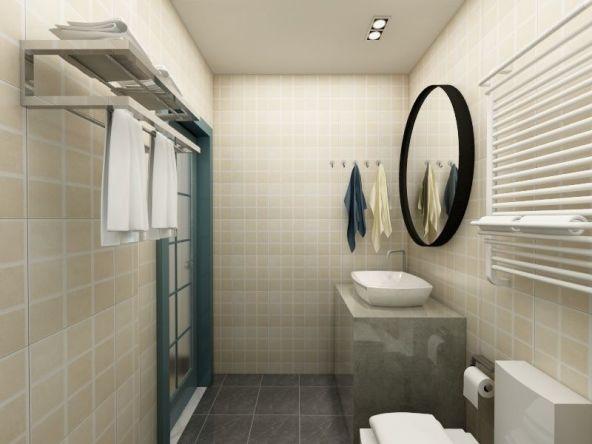卫生间干湿分离,洗漱台上悬挂着圆形大镜子,美美的…