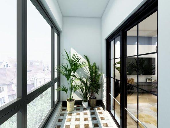 有阳台,还有落地窗,在一片绿意之中,外面的美景尽收眼底。