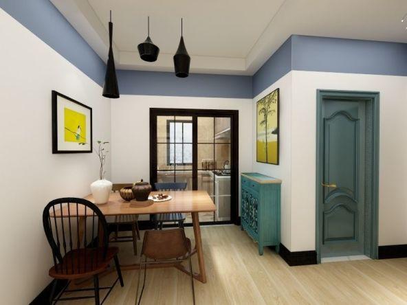 餐厅与客厅合并,却不失个性。黄色挂画,精致吊灯,让小小的空间,韵味十足。