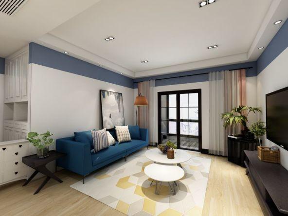 深蓝色布艺沙发,圆形白色餐桌、精致储物柜;整个客厅布置得错落有序。