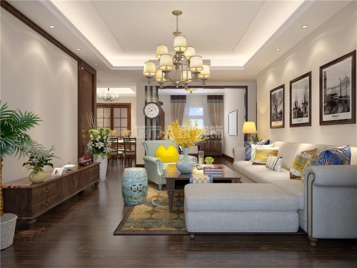 美式-123平米三居室-装修设计
