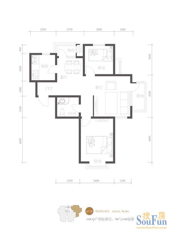 板塔结合 结构: 小高层 高层 房源描述 | 地图交通返回顶部 户型图