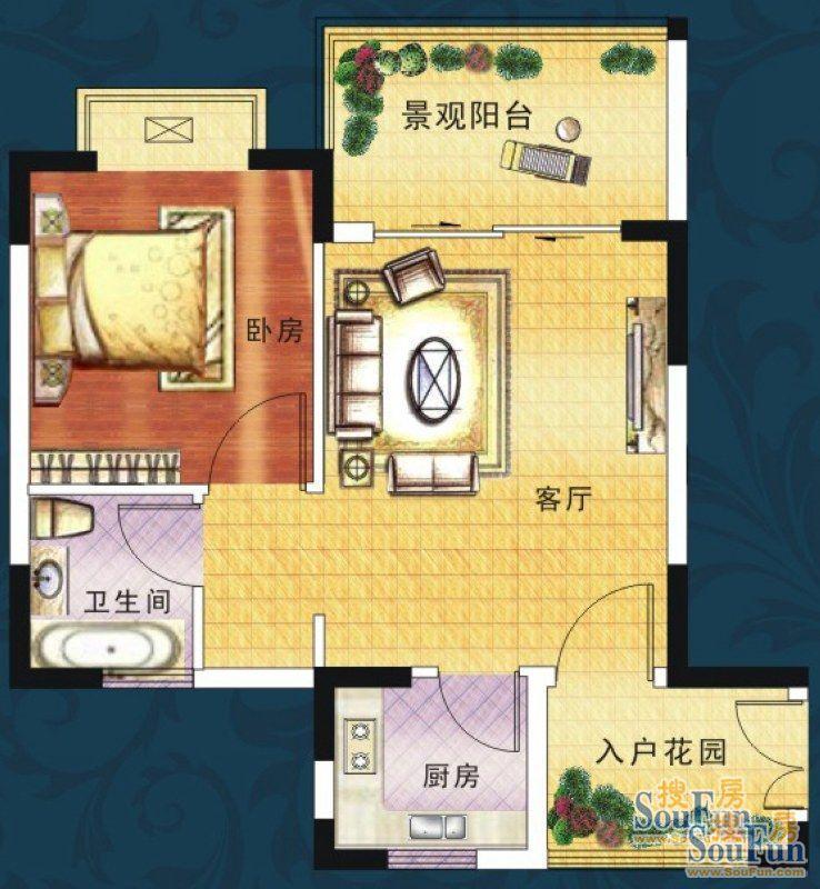 分为8层和11层两种楼梯结构,一梯六户,以小户型为主的房间布局,户型面