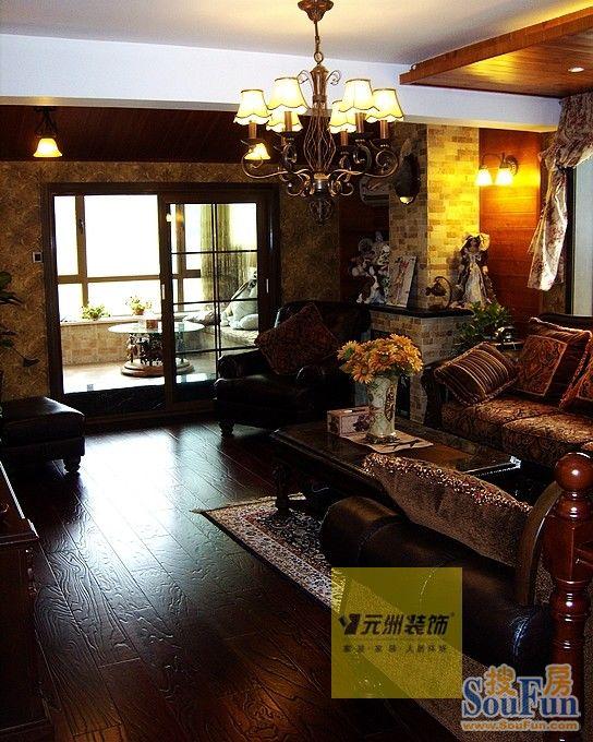 室-160㎡-客厅装修效果图-160平3室1厅 田园风格风格装修案例 预算高清图片