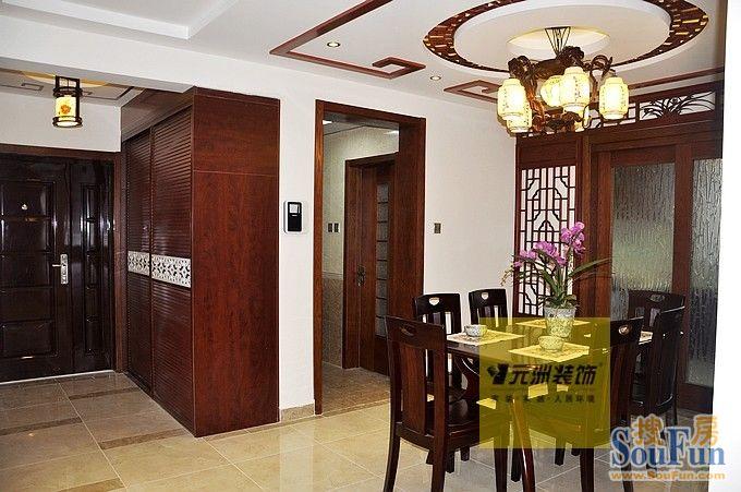 98平2室1厅 中式古典风格装修案例 预算11万元高清图片
