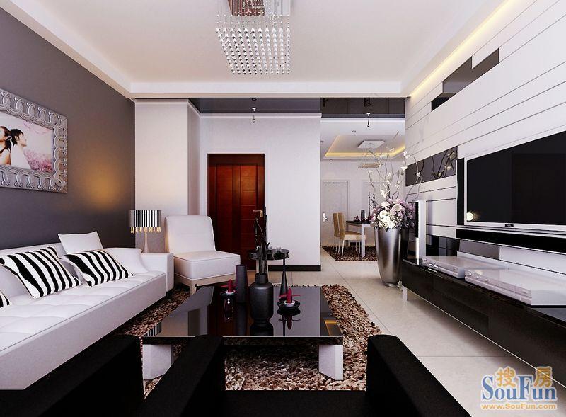 90平3室1厅 现代简约风格装修案例 预算10万元 高清图片