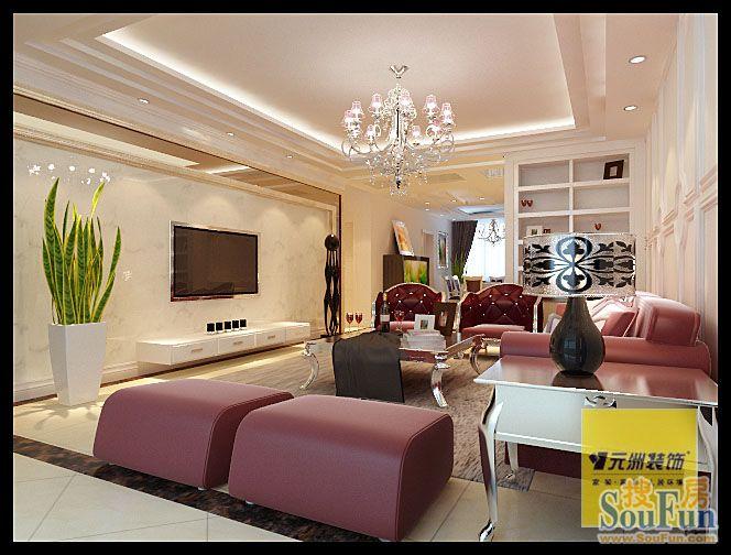 98平2室1厅 欧美风情风格装修案例 预算3万元高清图片
