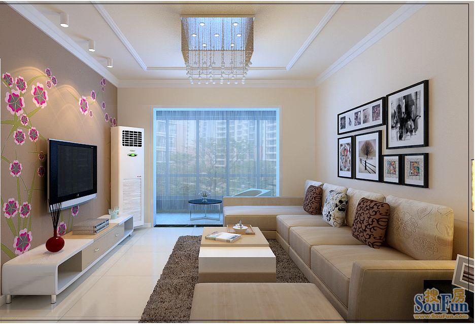 东方威尼斯 三居室 124.00㎡ 客厅装修效果图 高清图片