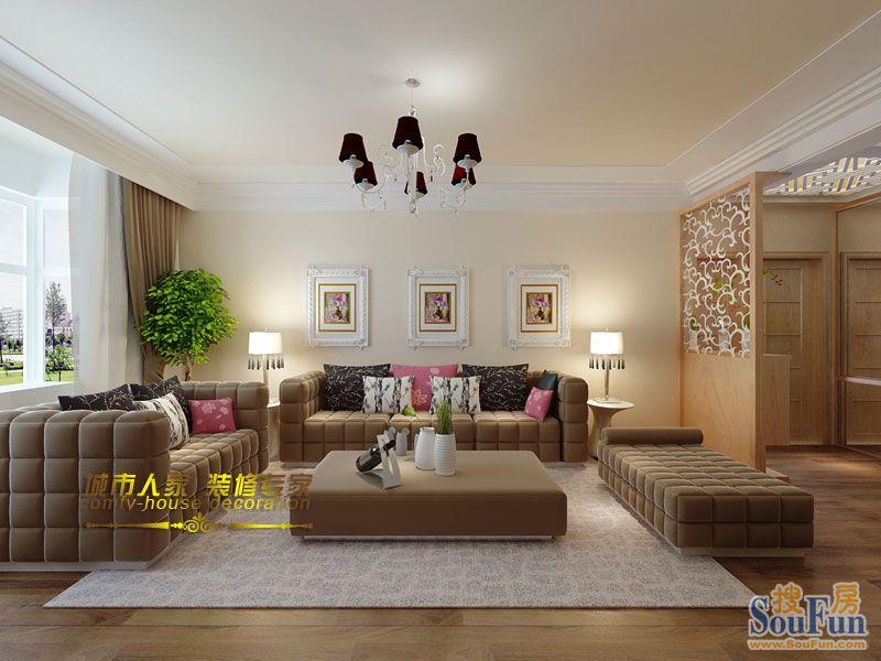 金域蓝湾-三居室-139㎡-客厅装修效果图   金域蓝湾-三居室-高清图片