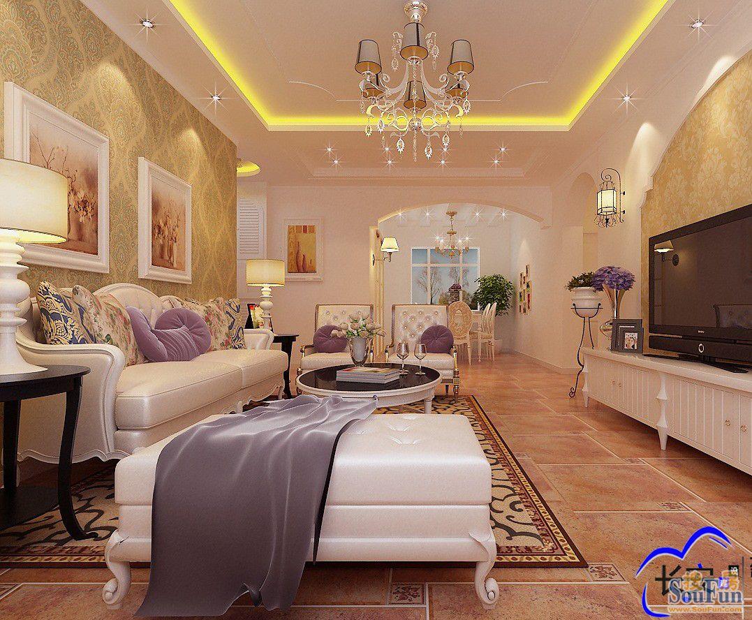 翰林国际 二居室 112平米 客厅装修设计 高清图片