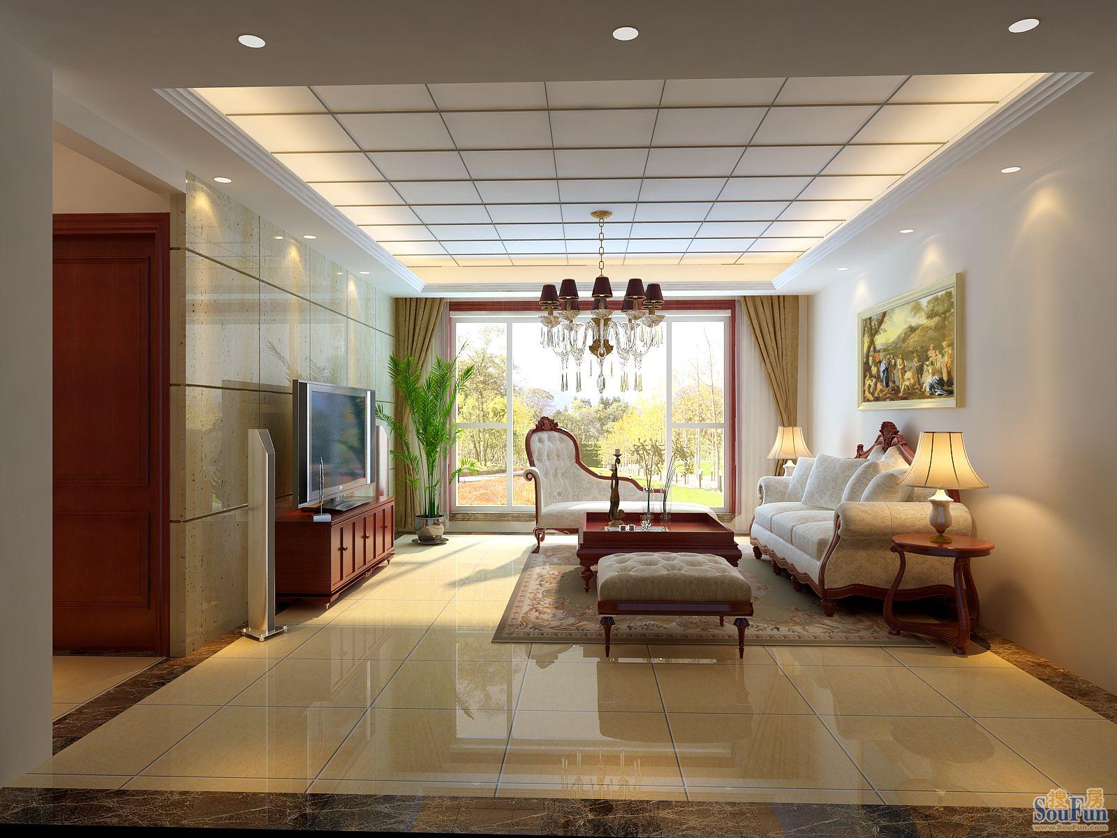 东湖湾-三居室-180㎡-客厅装修效果图