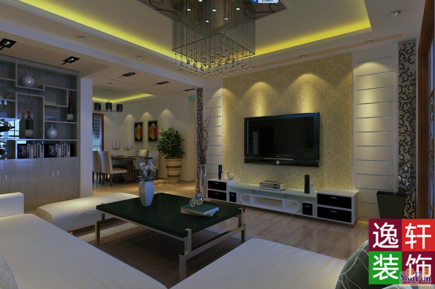现代简约三居室120.5平米3万 忠诚香槟郡装修案例 石家庄房天下家居装修网