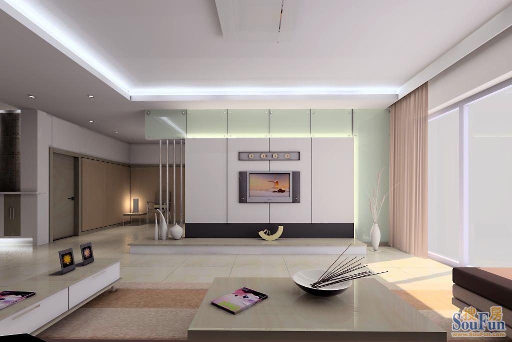 98平2室1厅 现代简约风格装修案例 预算7万元高清图片