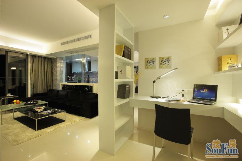 98平2室1厅 现代简约风格装修案例 预算2.3万元高清图片